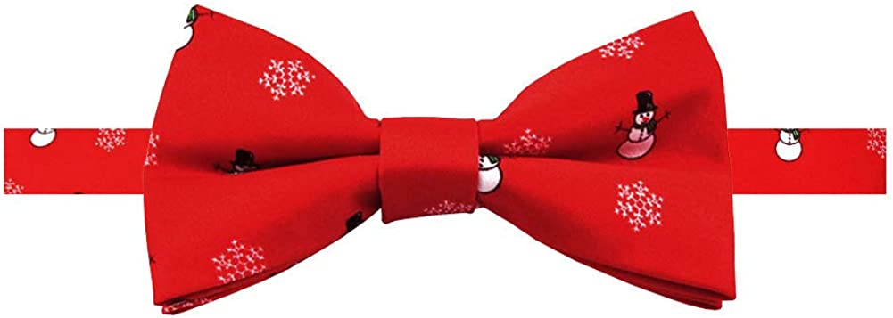 Jacob Alexander Boys' Red Frosty The Snowman Snowflakes Adjustable Pre-Tied Banded Bow Tie