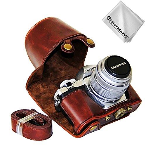 First2savvv marrone scuro Qualità premium Custodia Fondina in pelle sintetica per macchine fotografiche reflex compatibile con Olympus OM-D E-M10 Mark III con 14-42mm II R Lens XJD-EM10 III-C-10G11