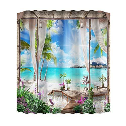 Yiran Cortina de Ducha Paisaje Natural Lavable decoración de baño para el hogar Cortina de poliéster Moderna de Hotel con Ganchos(Los 200x200cmXiao751)