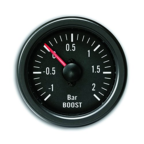 JOM Car Parts & Car Hifi GmbH 21110V Zusatzinstrument Youngtimer, Ladedruckmesser, Boost, schwarz Ø52mm