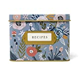 Jot & Mark Decorative Tin for Recipe Cards | Holds Hundreds of 4x6 Cards (Garden Floral)