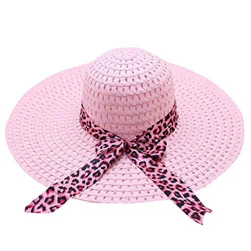 iYmitz Damen Sonnenhüte Leopard Bedruckter Hut mit Breiter Krempe Und Breiter Krempemit Sonnen Shade für Damen Bogen Elegant Strandhut(Rosa,One size)