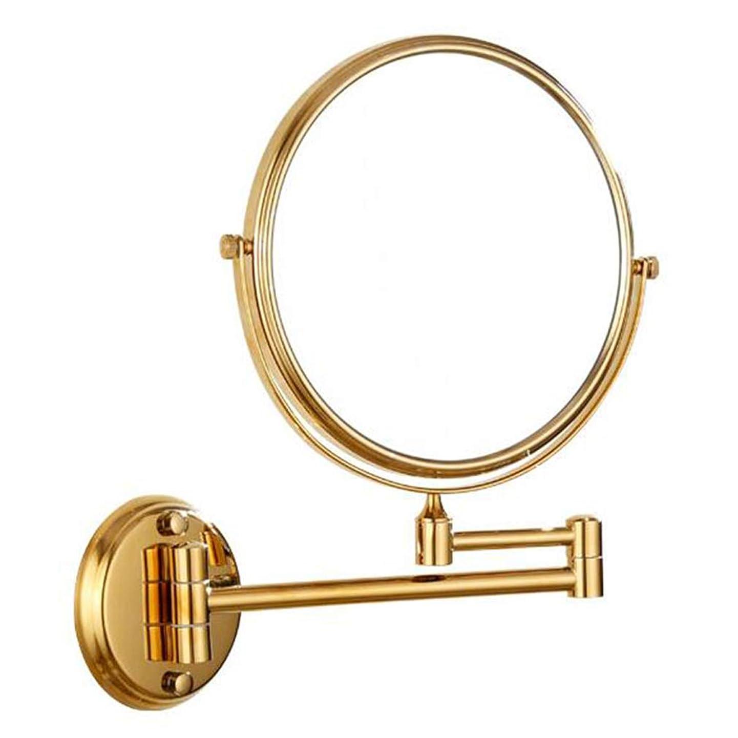 男性情熱的実質的にHUYYA 化粧鏡、3倍拡大 化粧ミラー 両面 壁掛け式 けメイクミラー 360 °回転 伸縮可能折りバスルームの鏡,Gold_8inch