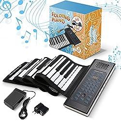 cheap Foldable Portable Roll-Up Piano Keyboard | 61 Keys | Music Gifts for Women, Men, Girls, Boys, Kids |…