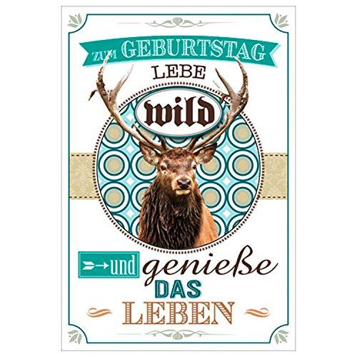 Zum Geburtstag Geburtstagskarte Jäger Jagd Hirsch wild mit grünem Umschlag/Kuvert