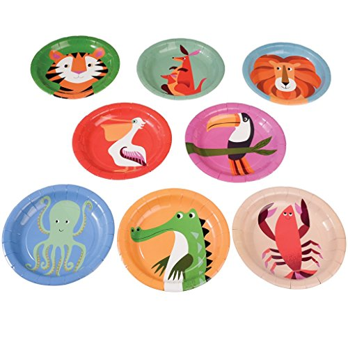 Rex London Set Of 8 Disposable Paper Plates - Choice Of Design (Colourful Creatures)