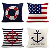 Tarolo Decorative Linen Throw Pillow Covers Cases Set of 4 White and Red Nautical Life Buoy Blue Elegant The Stars and Stripes Vintage Retro Steering Wheel Pillow Cover Case 18x18 inches