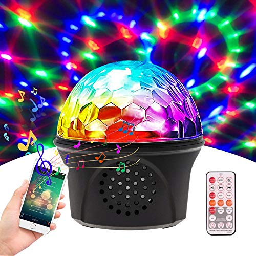 Disco Lights,Party Lights with Bluetooth Speaker, USB Sound Activated Disco Ball Lights,Remote Control,Both Wireless Connection and Audio Line,LED Party Lights DJ Sound for Pool Dance Show Bedroom