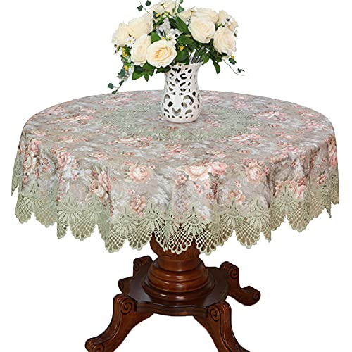 JHSLXD Square/Rectangle/Round/Oval Tablecloth Kitchen Tablecloth Dining Table Tablecloth Flower Pattern Round Table Tablecloth Decoration Tablecloth,F Style,Round: 150150CM