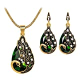 Comelyjewel Women Gems Peacock Pendant Earrings Necklace Vintage Wedding Jewelry Set Durable and Useful