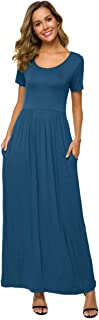VEPKUL Womens Short Sleeve Loose Plain Maxi Dresses Casual Long Floral Dresses with Pockets