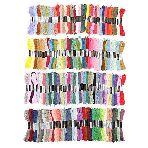 Atyhao Kit de Hilo de Bordar, 150 Piezas de Hilo de Bordar, Hilo de Punto de Cruz Multicolor, Hilo de poliéster, algodón, 8 Metros, Accesorios de Costura para Manualidades