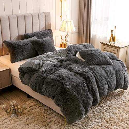 Uhamho Solid Fluffy 1PC Faux Fur Plush Duvet Cover Luxury Shaggy Velvet Bedspread Zipper Closure (Dark Gray, King)