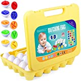 JUOIFIP Matching Eggs, 26 Pack A-Z Alphabet Easter Egg Puzzle, My First Find and Match Letters Colors Recognition, Early Education Learning Toys Matching Eggs Set Easter Gift for Preschool Student
