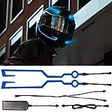Biqing 2Pcs Luz para Casco de Motocicleta, LED Luz de señal nocturna Raya intermitente Casco de moto Kit de luz de casco LED para conducción nocturna Impermeable (Azul)