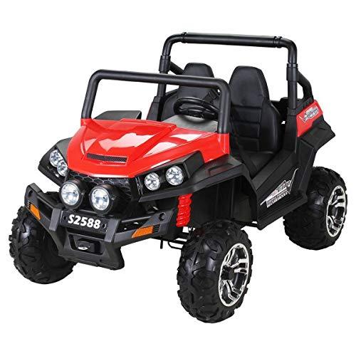 Coche eléctrico para niños RSX - 2.4Ghz, 24V, 4 X MOTOR, mando a distancia, dos asientos en cuero, ruedas blandas de EVA, radio de FM, Bluetooth (Rojo)