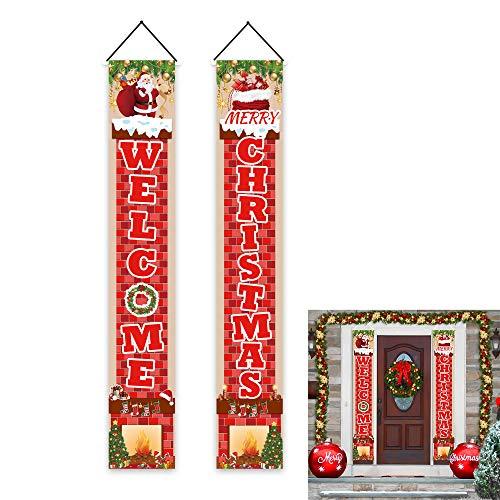 Ushinemi Weihnachtstür-Dekorationen, Veranda-Weihnachtsschild, Welcome Merry Christmas Banner Garagen-Dekoration, 1,8 x 3 m