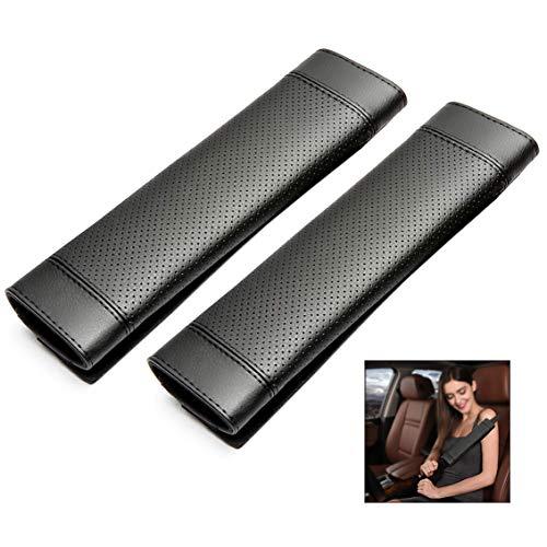 iwobi Premium gordelkussen, PU-leer, bekleding voor zitriem in de auto voor meer comfort op reis, zwart