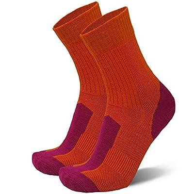 Merino Wool Light Hiking Socks (Orange/Fuchsia, US Women 8-10 // US Men 6.5-8.5)