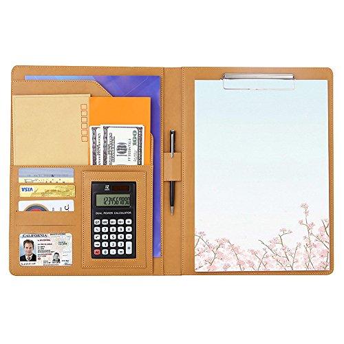 A4バインダー 多機能フォルダー クリップボード A4ファイル 12桁電卓付き A4書類契約フォルダー ビジネスオフィス用品 高級PU材質 ペンホルダー付き オフィス用品(ゴールド)
