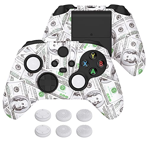 PlayVital Water Transfer Printing 100 Cash Money Dollar Silicone Cover Skin for Xbox Series X/S Controller, Soft Rubber Case Protector for Xbox Series X/S, Xbox Core Controller w/ 6 Thumb Grip Caps