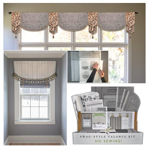 DIY Swag-Scarf Valance Kit, No Sewing Needed, Fit All Window Sizes, Reusable Pattern, Make Unlimited Valances, Kitchen, Dining Room, Bedroom & More, Includes Swag, Cornice and Wraparound Styles