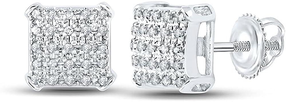 10kt White Gold Mens Round Diamond Square Earrings 1/8 Cttw