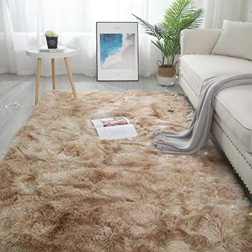 YUANYISHI Alfombra de pelo largo de seda y lana Tie-Dye de color degradado para dormitorio, salón, cama de noche, lavable, grande, beige, 200 x 300 cm