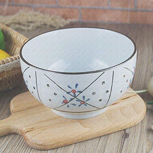 Ramen Bowl Haushalt Große Schüssel Anti-Verbrühungs-Keramikschale Instant-Nudelschale Keramik-Nudelschale Suppenschüssel Obstsalatschale Dessertschale