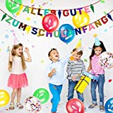 iZoeL Schuleinführung Schulanfang Einschulung Banner Deko Alles Gute Zum Schulanfang Filz Girlande + 15 Konfetti Luftballon für Junge Mädchen - 2