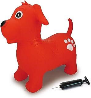 Jamara 460454 - Animal saltarín Perro Rojo con Bomba - Mejora el Equilibrio y Capacidad motora, Orejas como Soporte, Robusto y Resistente, Peso sostenible 50 Kg