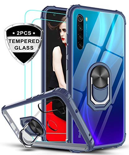 LeYi für Xiaomi Redmi Note 8 Hülle mit Panzerglas Schutzfolie(2 Stück),Ringhalter Schutzhülle Crystal Clear Acryl Cover Air Cushion Bumper Handy Hüllen für Case Xiaomi Redmi Note 8 Handyhülle Blau