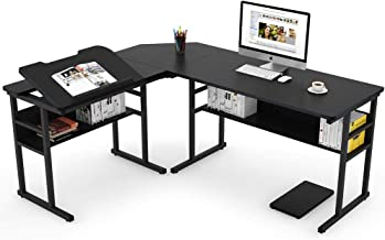 Tribesigns Modern L-Shaped Desk with Bookshelf, 67 inch Double Corner Computer Office Desk Workstation Drafting Drawing Table with Tiltable Tabletop for Home Office (Black)