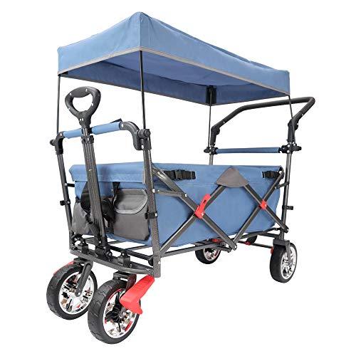 Lemmy Max+ Faltbarer Bollerwagen LMY500BEG, Kinderwagen,Campingwagen, Einkaufswagen,Transportwagen,Mit Dach,2 Dreieckiges Sicherheitsgurtsystem,Tragfähigkeit 80kg (Blau+Grau)