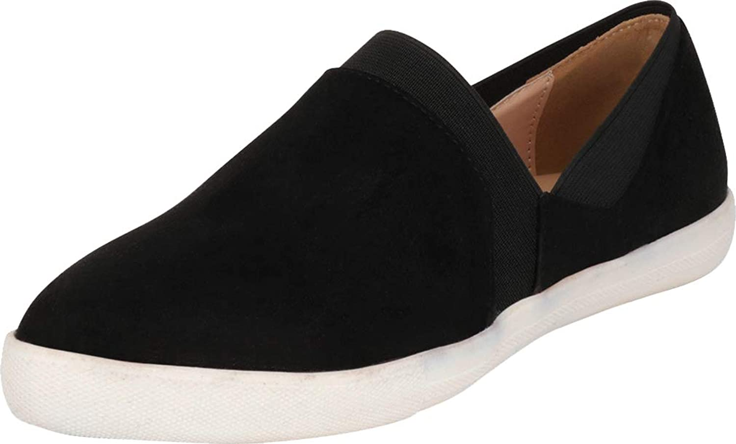 Cambridge Select Women's Pointed Toe Stretch Slip-On White Sole Fashion Sneaker