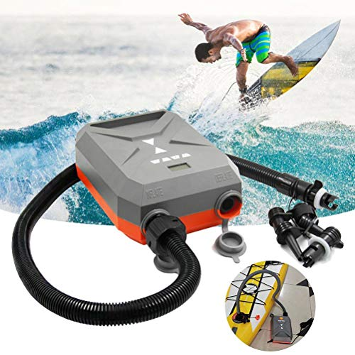 Knowoo 12V Electric Air Pump, High Pressure Pump SUP Pump Intelligent for Stand Up Paddle Boards Inflatable Boats Air Bed Inflatable Tent