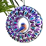 Lily's Home Hanging Outdoor Fly Through Wild Bird Feeder, an Excellent Addition to Any Garden, Mosaic. 8 Inches. Purple and Blue