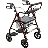Best Rollators - ProBasics Transport Rollator with Padded Seat, Burgundy, Easy Review