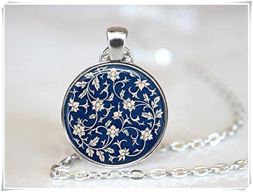 Elf House behang ketting, blauw behang sieraden, antieke stijl ketting, bloemen ketting, puur handgemaakt