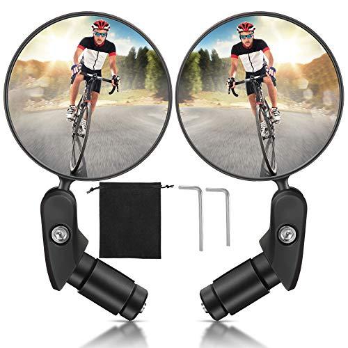 Hestya 2 Espejos de Bicicleta de Extremo de Barra de Manillar de Ciclismo, Espejo Retrovisor Giratorio 360 Grados Espejo Lateral Seguridad Convexo Acrílico Gran Angular Ajustable Anti Golpe