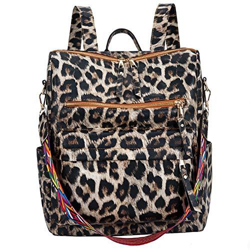 Nrpfell Europ?Ische und Amerikanische Damen Pu Rucksack Trend Leoparden Muster College Student Schul Tasche Weiblicher L?Ssiger Rucksack