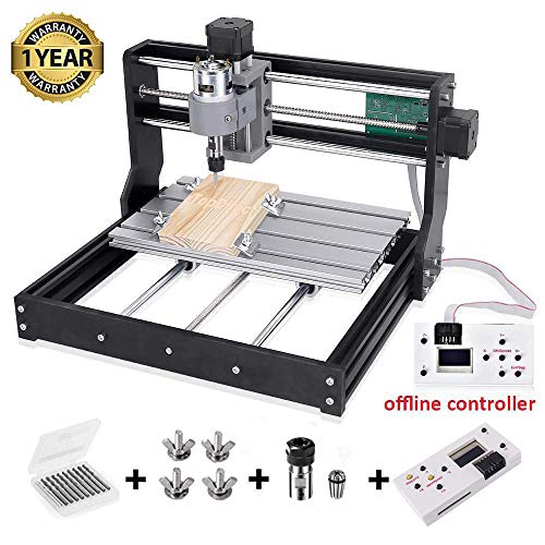 Upgraded Version CNC 3018 Pro Engraving Machine, GRBL Control 3 Axis Mini DIY CNC Router Engraver with Offline Controller, Working Area 300x180x45mm, for Wood Plastic Acrylic PCB PVC
