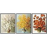 SQWPATS Blanco Amarillo Rojo pequeño Ramo de Flores Cuadro Lienzo Pintura para Sala de Estar hogar Pared Arte Pasillo decoración Moderna 40x60cm-3pcs Sin Marco