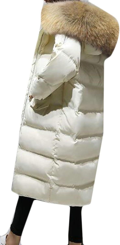UUYUKWomen Slim Thicken Down Faux Fur Hooded Coat Thicken Puffer Jacket