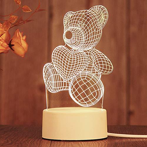 Guijiyi Luz de Noche 3D,3D Luz Nocturna Infantil,LED Lámpara de Mesa para Niños,Decoración del hogar para Navidad Día de San Valentín Aniversario Amigo Niños Familia (D)