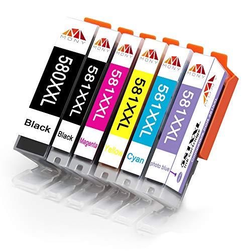 Mony Compatibile Cartuccia d'inchiostro per Canon PGI-580 CLI-581 XXL (Nero/PGBK/Ciano/Magenta/Giallo/Foto Blu) per Canon Pixma TR7550 TS6150 TS8150 TS8151 TS8152 TS8250 TS8251 TS8252 TS9150 Stampante