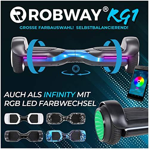 Robway RG1 Hoverboard - Das Original - Self Balance - 11 Farben - Bluetooth - 2 x 350 Watt Motoren - App (Schwarz/Blau)