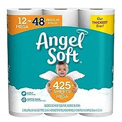 Angel Soft Toilet Paper, 12 Mega Rolls, 12 = 48 Regular Rolls, 484 sheets per roll, 4.524 Pound