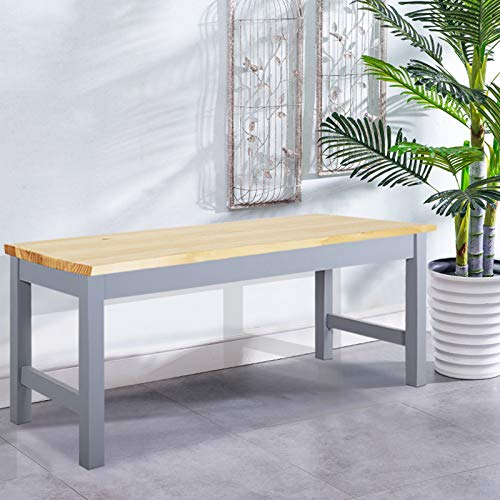 BTGGG Coffee Table Ideal as Dining Table Kitchen Bench Sturdy Wooden Bench Garden Doorway Seat Stool, Grey with Natural Pine