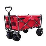 DABADA(ダバダ) キャリーカート 耐荷重150kg 容量95L アウトドアワゴン 折りたたみ 軽量 大型タイヤ 4輪 (Red)